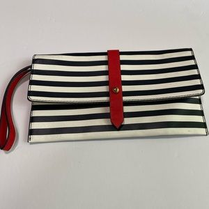 The Limited clutch purse wristlet black white red